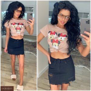 Купить джинсовую юбку черного цвета женскую с дырками и потертостями в Украине