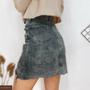 Купить серую джинсовую юбку с потертостями дымчатую недорого для женщин
