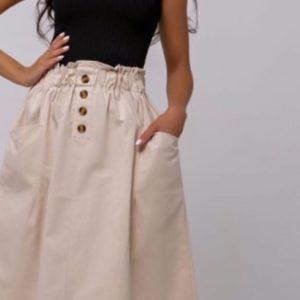 Заказать беж женскую хлопковую юбку миди на резинке с карманами онлайн