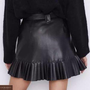 Купити чорну жіночу спідницю з еко шкіри з окантовкою з плісировки в Одесі, Харкові, Дніпрі
