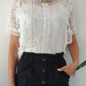Замовити жіночу білу мереживну блузку з коротким рукавом онлайн