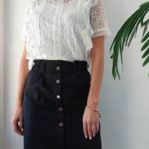 Купити білу мереживну блузку з коротким рукавом для жінок в інтернеті