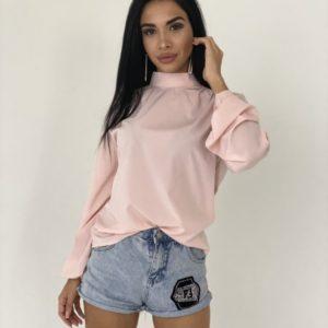 Замовити рожеву закриту блузку з довгим рукавом і бантом ззаду для жінок по знижці
