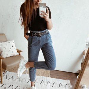 Заказать женские укороченные джинсы baggy с поясом (размер 42-48) синего цвета онлайн