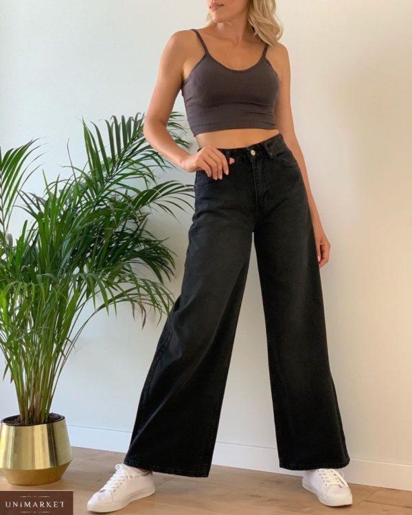 Купить женские широкие джинсы с высокой талией черного цвета в Украине
