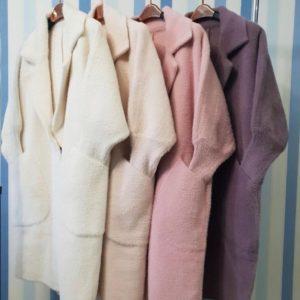Заказать женский кардиган из шерсти альпаки с накладными карманами цвета пудра, молоко, беж, сирень онлайн