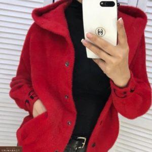 Купить кардиган для женщин красный из шерсти альпака по скидке