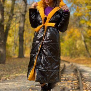 Приобрести черный/горчица цвета двухстороннюю длинную куртку с поясом (размер 42-58) для женщин по низким ценам