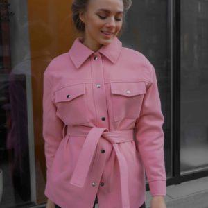 Заказать розовое женское кашемировое пальто в рубашечном стиле с поясом (размер 42-56) по низким ценам