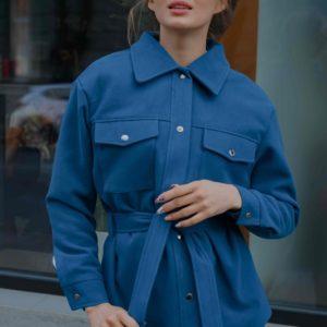 Заказать кашемировое пальто женское цвета морская волна в рубашечном стиле с поясом (размер 42-56) недорого