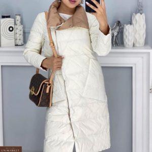 Заказать на зиму и осень двустороннее пальто-одеяло с карманами (размер 42-48) для женщин молочное выгодно