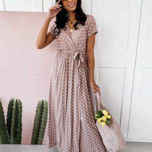 Купить платье для женщин на запах в горошек цвета мокко длины макси (размер 44-52) дешево