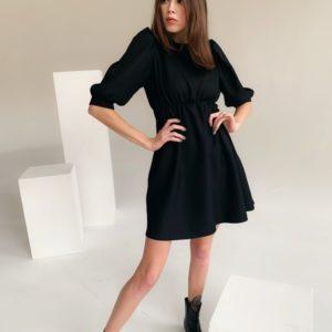 Заказать женское маленькое черное платье с пышными рукавами (размер 42-48) онлайн