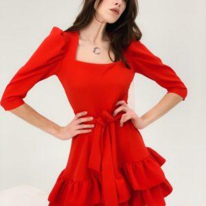 Купить платье мини с воланами и рукавами-фонариками (размер 42-48) для женщин красное выгодно