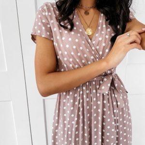 Приобрести женское платье мокко на запах в горошек длины макси (размер 44-52) в Украине