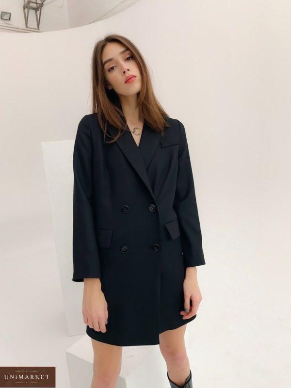 Приобрести женское платье-пиджак оверсайз с длинным рукавом (размер 42-48) черного цвета по скидке