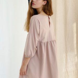 Приобрести женское свободное платье мини с V-образным вырезом (размер 42-48) беж выгодно