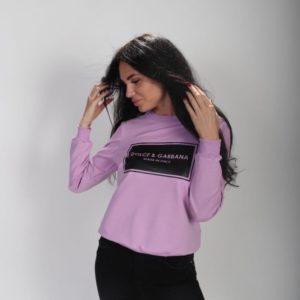 Приобрести свитшот с принтом Dolce&Gabbana сиреневого цвета для женщин по скидке