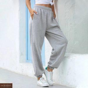 Заказать серого цвета трикотажные штаны с карманами на резинке (размер 42-50) онлайн для женщин
