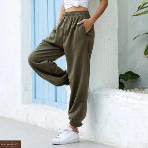 Приобрести хаки женские трикотажные штаны с карманами на резинке (размер 42-50) по скидке