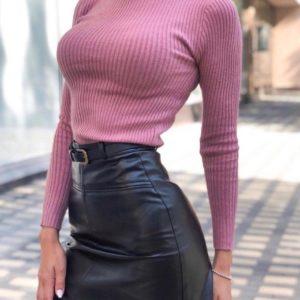 Приобрести женскую черную юбку из эко кожи с поясом и подкладкой в виде шорт (размер 42-48) выгодно