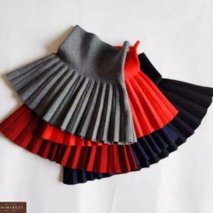 Купити сіру, червону, синю, бордо Спідницю плісе щільною машинної в'язки по знижці для жінок