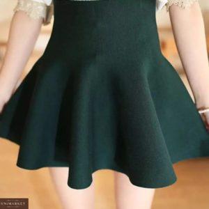 Заказать зеленую высокую юбку-солнце плотной машинной вязки для женщин