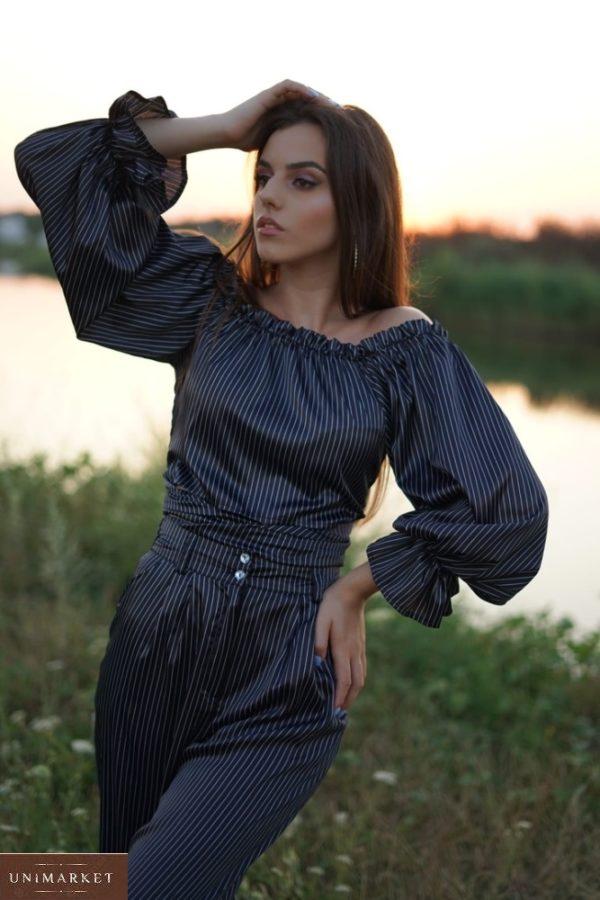 Приобрести женское платье черного цвета в горошек с открытыми плечами (размер 42-56) онлайн