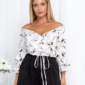Замовити жіночу білу блузку-топ з журавлями (розмір 42-54) недорого