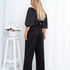 Придбати жіночу чорну блузку-топ на запах в горошок (розмір 42-54) недорого