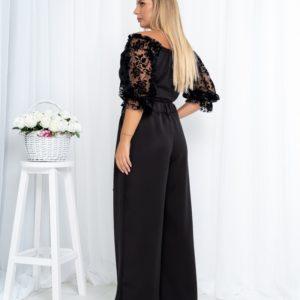 Придбати чорну блузку з рукавами з сітки з флоком (розмір 42-54) для жінок вигідно