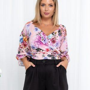 Придбати жіночу сірого кольору прінтовану блузку-топ на запах з відкритими плечима (розмір 42-54) по знижці
