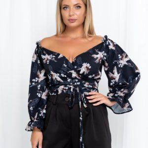 Купити синю жіночу блузку-топ з журавлями (розмір 42-54) вигідно