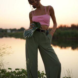 Купить женские оливкового цвета брюки палаццо шелкового льна недорого