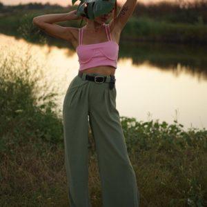Заказать оливковые брюки палаццо шелкового льна для женщин дешево