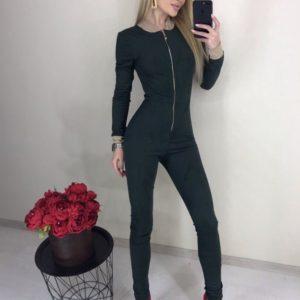 Купити чорний облягаючий жіночий комбінезон із замші з змійкою дешево