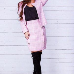 Купить женский костюм из твида: жакет+юбка пудра выгодно