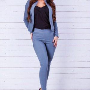 Приобрести женский голубой стрейчевый костюм из джинса: штаны+кофта выгодно