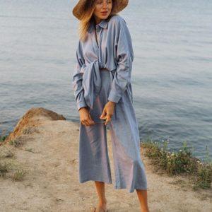 Купить голубой женский летний костюм: рубашки и штаны-кюлоты из льна онлайн