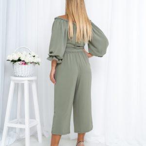Купить цвета хаки женский однотонный костюм с топом на запах (размер 42-54) онлайн