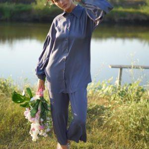 Купить серо-синий костюм с кюлотами женский и удлиненной блузкой (размер 42-52) по скидке