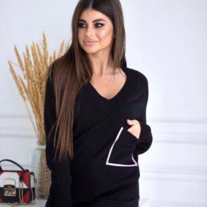 Купить женский вязаный прогулочный костюм черного цвета с карманом онлайн