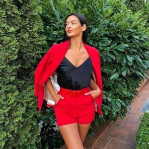 Замовити червоного кольору для жінок костюм шорти з поясом + жакет недорого