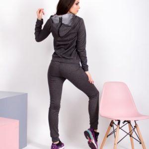 Купить женский спортивный костюм с люрексовой нитью и капюшоном цвета графит выгодно