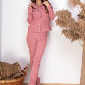 Приобрести пудра женский вельветовый костюм: брюки+куртка на заклепках в Украине