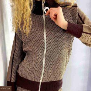 Приобрести коричневый прогулочный костюм на змейке плотной машинной вязки для женщин онлайн