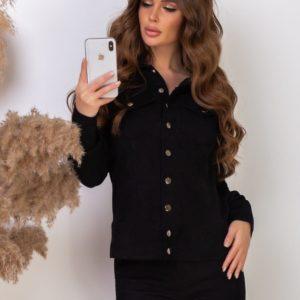 Заказать черного цвета женский вельветовый костюм: брюки+куртка на заклепках дешево