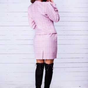 Приобрести костюм из твида: жакет+юбка для женщин пудрового цвета онлайн