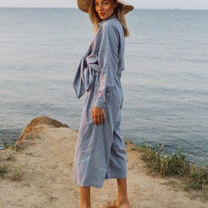 Приобрести на лето голубой костюм: рубашки и штаны-кюлоты из льна для женщин выгодно