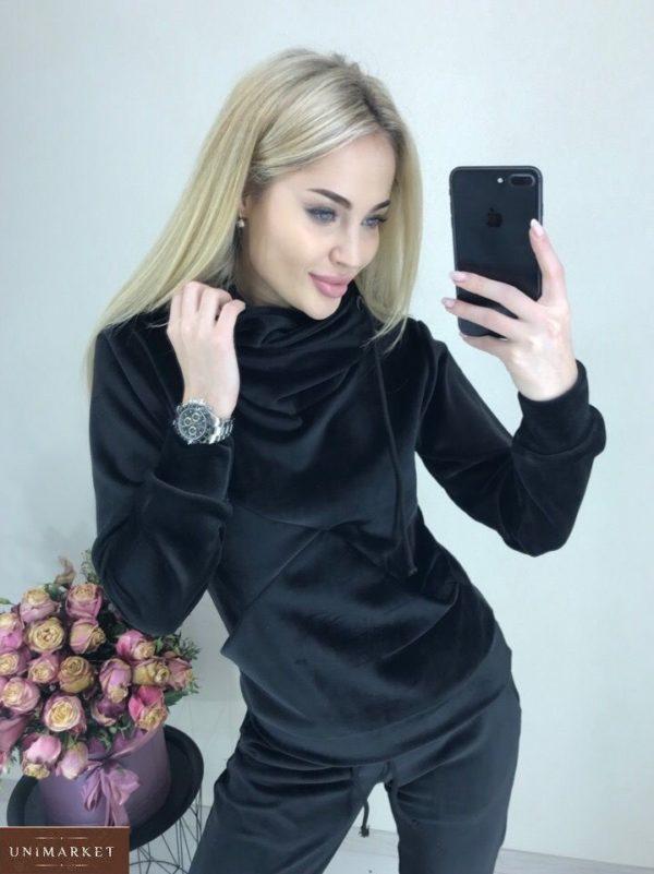 Купить женский черный с капюшоном спортивный костюм из велюра на дайвинге недорого